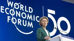 Основните рискове пред икономиката са свързани с климата, предупреди Фон дер Лайен в Давос