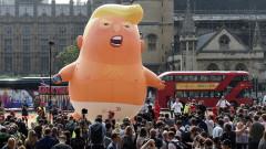 Протестиращи в Лондон издигнаха балон на сърдито бебе с лика на Тръмп