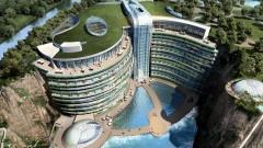 Изоставената кариера в Китай, която се превърна в ултралуксозен 88-метров хотел земестъргач