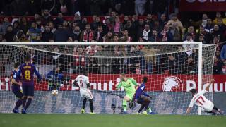 Няма Меси, няма парти! Севиля нокаутира Барселона, каталунците пред отпадане от Купата на Краля!
