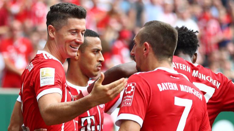 Байерн (Мюнхен) се поздрави с втори пореден успех в Бундеслигата.