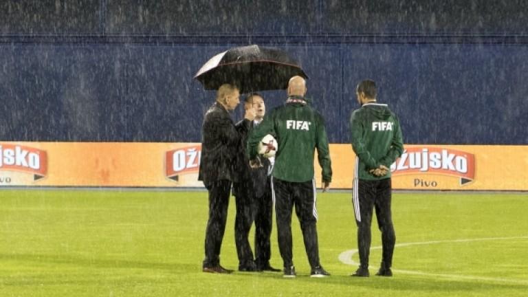 Световната квалификация между Хърватия и Косово бе прекратена след 25