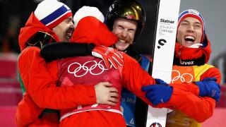 Злато за Норвегия в отборния ски-скок за мъже