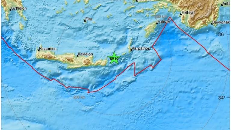 Земетресение с магнитуд 5,4 по скалата на Рихтер разтърси гръцкия