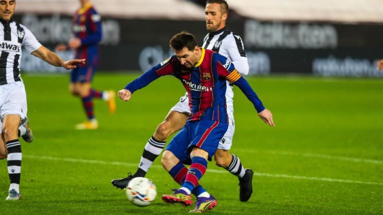 Меси измъкна Барселона срещу Леванте