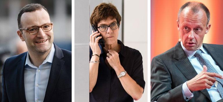 От ляво надясно: Йенс Шпан, Анегрет Крамп-Каренбауер и Фридрих Мерц