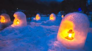 Как се прави фенер от сняг