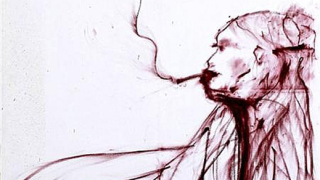 Автопортрет на Кейт Мос, нарисуван с червило и кръв, отива на търг