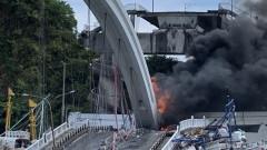 Мост рухна върху рибарски лодки в Тайван