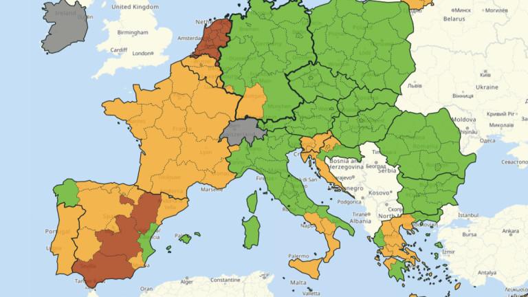България вече е изцяло в зелената зона на COVID-картата на ЕС