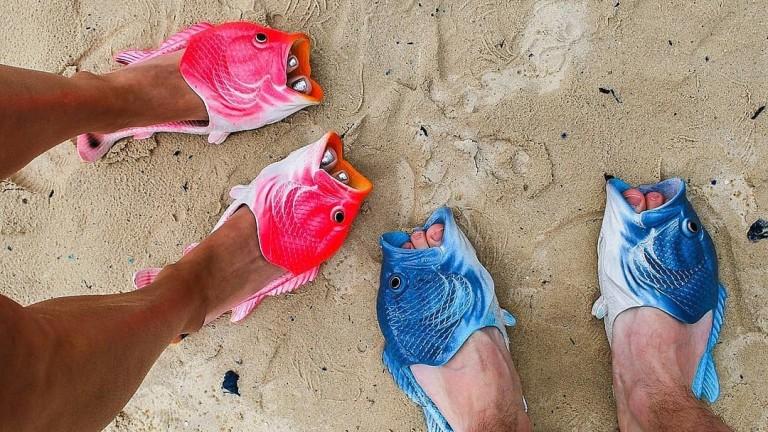 Джапанки за плаж под формата на разпорени риби, чехли за