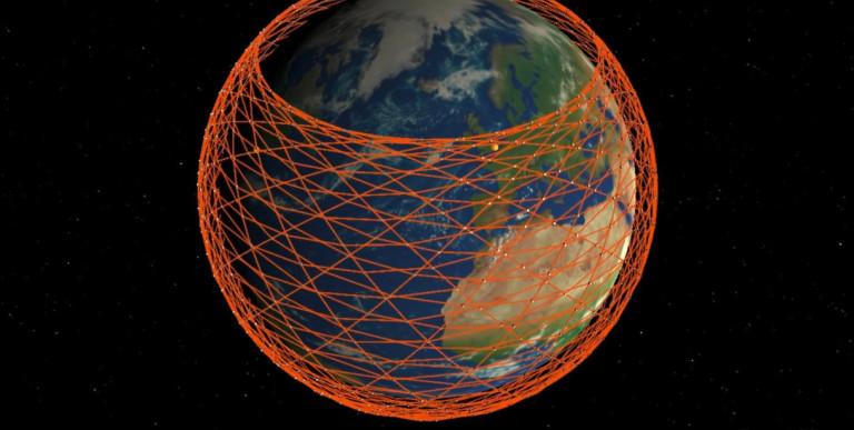 Илюстрация на мрежата от сателити, която Мъск иска да създаде