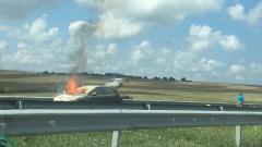 """Пожар в кола с газова уредба временно затвори АМ """"Тракия"""" към км 359"""