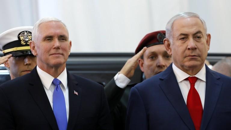 Вицепрезидентът на САЩ Майк Пенс, който кацна в Израел в
