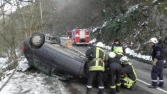 Млад шофьор загина при катастрофа на заледен път край Благоевград