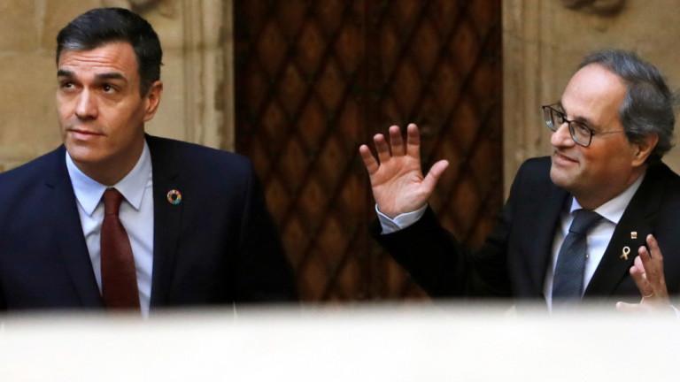 Испанският министър-председател Педро Санчес се среща със сепаратисткия лидер на