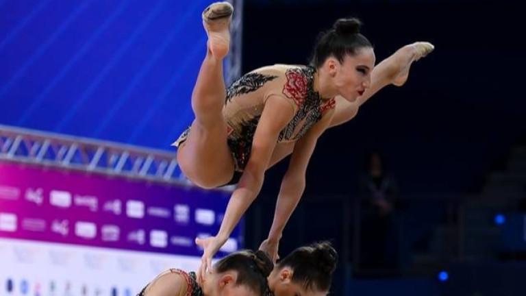 Българският ансамбъл по художествена гимнастика и двете индивидуалистки Невяна Владинова