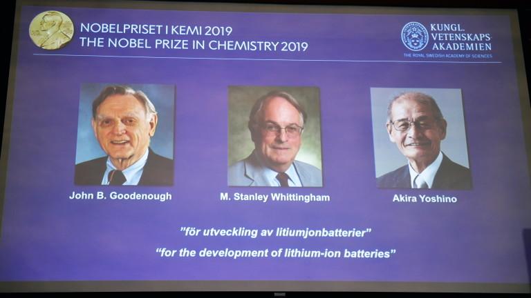 Трима учени печелят Нобела за химия за разработването на литиево-йонните батерии