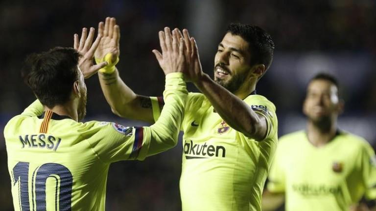 Нападателното дуо на Барселона Лионел Меси и Луис Суарес има
