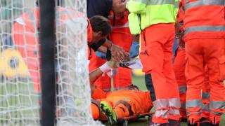 Вратарят на Киево в болница след сблъсък с Кристиано Роналдо