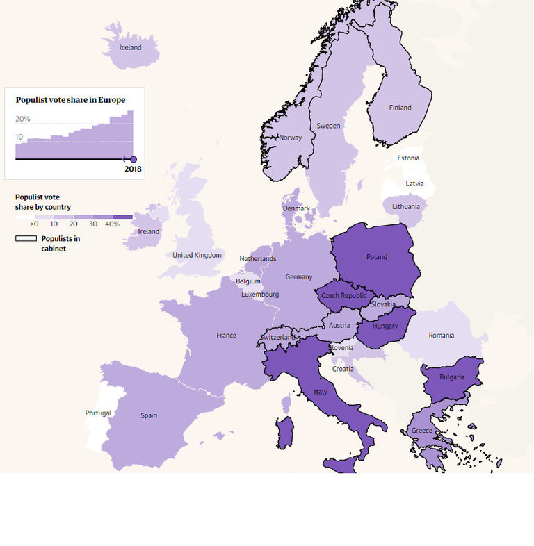 Карта на популисткия вот в Европа през 2018 година