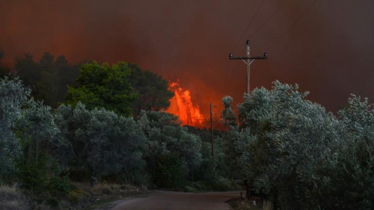 Голям пожар на гръцкия остров Евбея в близост до Атина