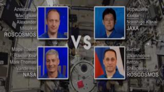 Първият мач по бадминтон в космоса между Русия, САЩ и Япония
