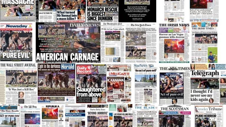 Стрелбата в Лас Вегас доминира в световния печат