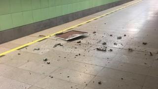 """Падна част от тавана на метространция """"Западен парк"""""""
