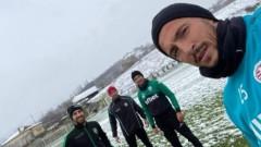Дуо от Лудогорец тренира в снега