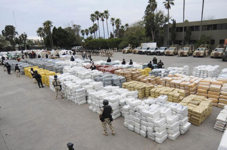 Когато полицията в Мексико залови наркотици, количествата са големи