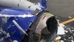 Самолет на Southwest Airlines кацна с един двигател