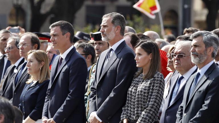 Каталунски сепаратисти опънаха голям банер срещу крал Фелипе VI на
