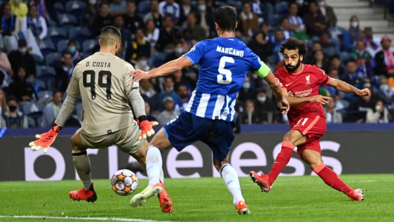 Триото на Ливърпул се завърна! Салах, Фирмино и Мане писаха петица на Порто