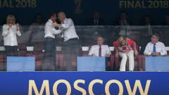 Макрон празнува заедно с новите световни шампиони