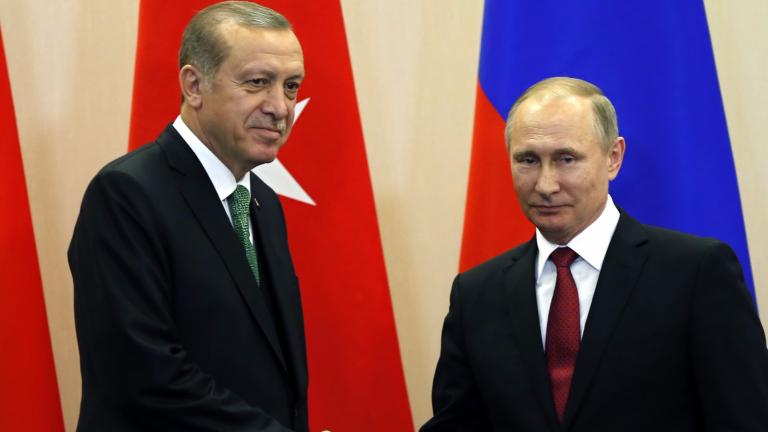 Руският лидер Владимир Путин и турският президент Реджеп Ердоган се