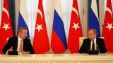"""Путин и Ердоган обсъдиха по телефона операцията """"Щитът на Ефрат"""""""