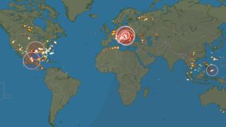Карта показва всяка светкавица в света в реално време