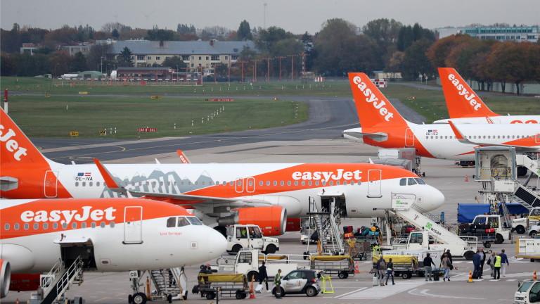 Британската нискобюджетна самолетна компания easyJet приземи всичките си 344 самолета