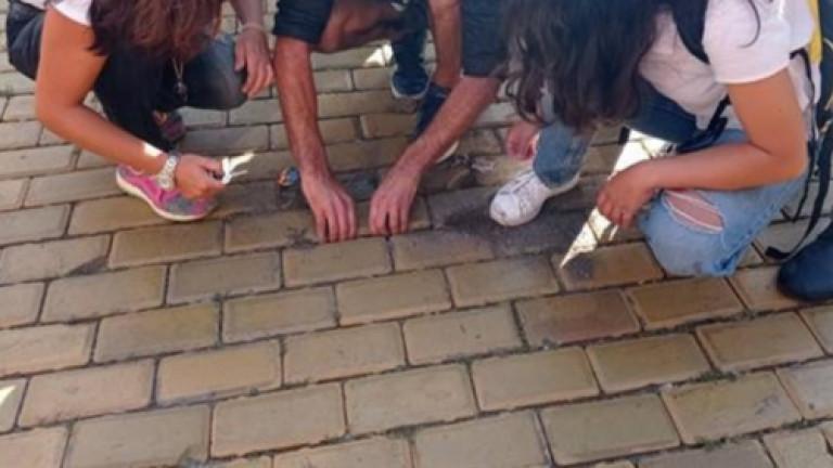 Деца играят върху жълти павета в столична детска ясла
