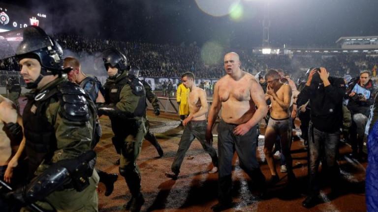 Броят на арестувани след безредиците на дербито между Партизан и