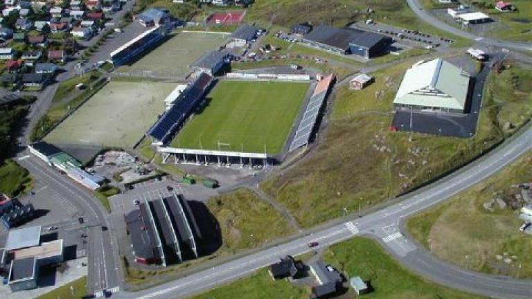 Стадионът на Б36 от птичи поглед