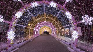 Най-дългият тунел от коледни лампички в Европа
