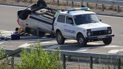 """Кола се обърна на АМ """"Струма"""" до Бобошево"""