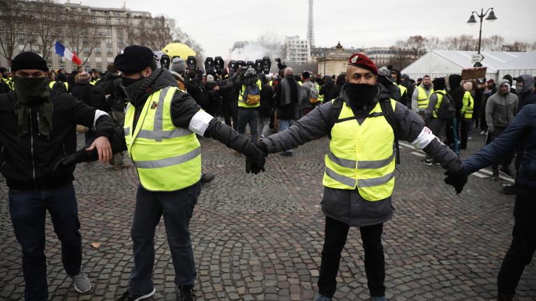 """Отново агресия от страна на """"жълтите жилетки"""", има арестувани"""