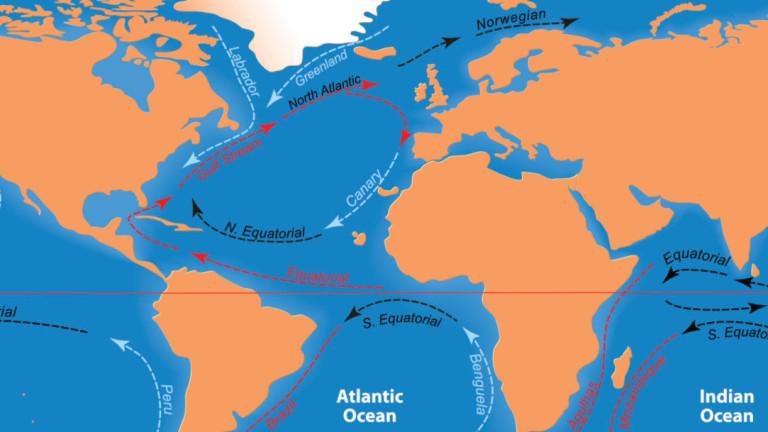 Циркулацията в Атлантическия океан, която е в основата на Гълфстрийм,