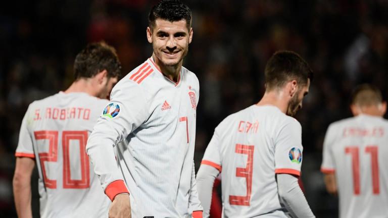 Испания получи 4 дузпи в 6 мача от квалификациите за Евро 2020