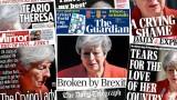 """""""Съсипаната от Брекзит"""" Мей и прощалната й реч в печата на Острова"""