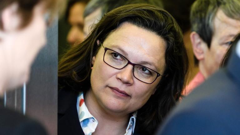 Председателят на Германската социалдемократическа партия (ГСДП) Андреа Налес иска потвърждение