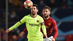 Автогол реши първата част от класиката между Юнайтед и Барселона, Смолинг изпълни заканата си към Меси
